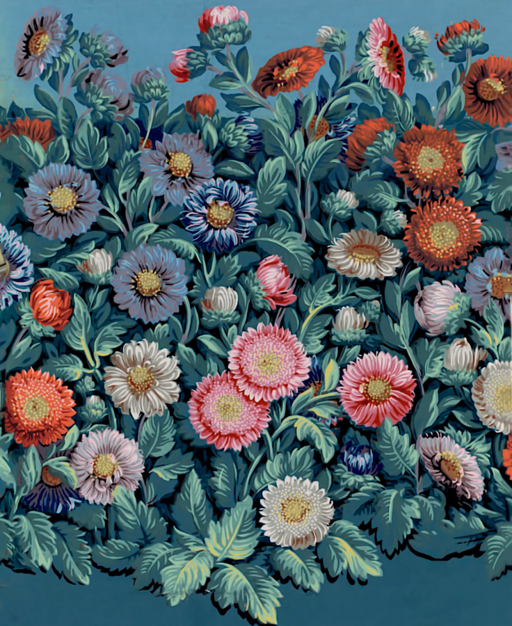 Title:  [Manufacture Good. Repeating pattern paper. Repetitive pattern of dense flowerbed of queens-daisies]: [wallpaper] Publisher:  [R. Good] (Paris) Publishing date :  1799 Subject :  Flower beds Subject :  Queen Daisy Subject :  Flowers (ornament) Subject :  Decorative motifs - 1789-1799 Type:  still image Format:  1 is. on paper butt: printing by the board, more than 20 colors. on a green bottle (?), smooth background; 53 x 43.5 cm (f.) Format:  image / jpeg Format:  Total number of views: 1 Description:  Belongs to the documentary ensemble: PaPeint18 Description:  Wallpaper Rights:  public domain Identifier:  ark: / 12148 / btv1b6900073r Source:  National Library of France, Department Prints and Photography, EST LI-20 Catalog notice:  http://catalogue.bnf.fr/ark:/12148/cb40483626w Origin :  National Library of France Date of online publication:  15/10/2007  Source: http://gallica.bnf.fr/ark:/12148/btv1b6900073r/f1.item