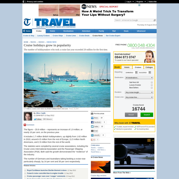 Cruise holidays grow in popularity