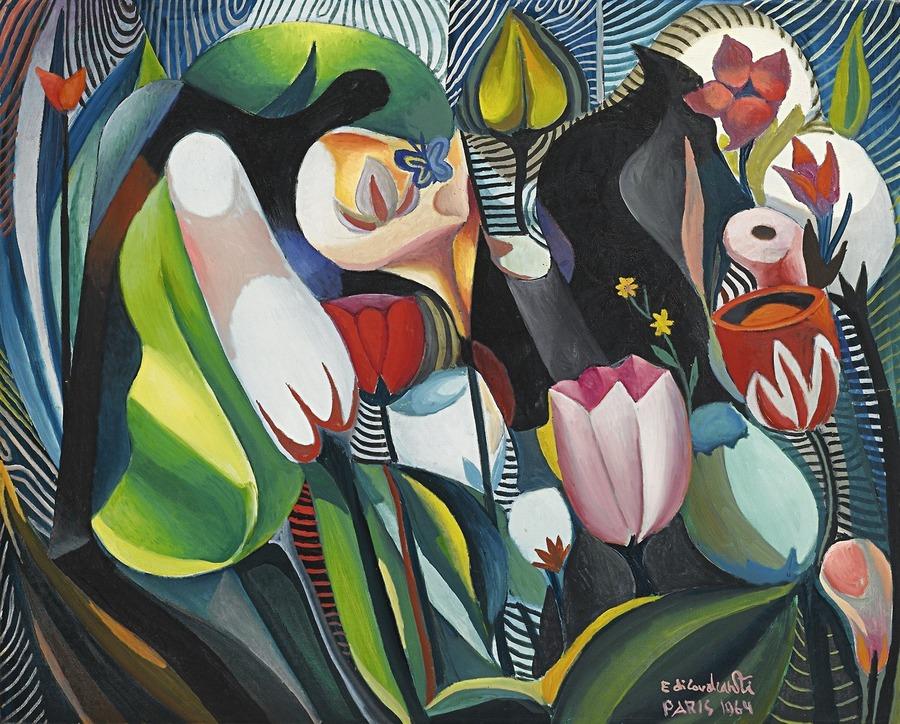 Emiliano di Cavalcanti (Brazil 1897-1976) Composotion, 1964 oil on canvas 81 x 100 cm
