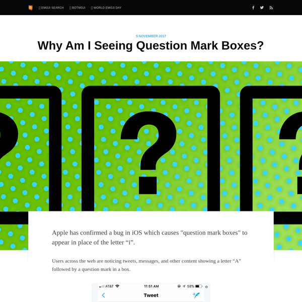 "Apple has confirmed a bug in iOS which causes ""question mark boxes"" to appear in place of the letter ""i"". Users across the web are noticing tweets, messages, and other content showing a letter ""A"" followed by a question mark in a box. Proof that my ""I"" changes"