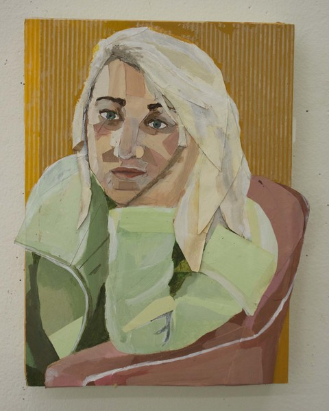 """Catherine,acrylic paint,butcher paper, and contact paper,38x61"""" (total), 8x11"""" (each), 2017"""