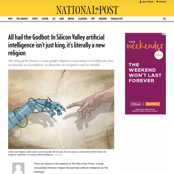 """There are reasons to be skeptical of The Way of the Future, a newly incorporated American religion that worships artificial intelligence as """"the Godhead."""" It has no church, no worshipers, no doctrine, no scripture, and no rituals."""