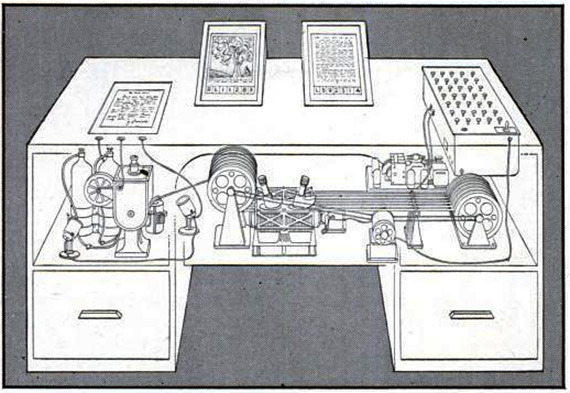 "Life magazine illustration of memex, from Vannevar Bush ""A We May Think"" 1945  http://www.theatlantic.com/technology/archive/2013/07/the-hut-where-the-internet-began/277551/"