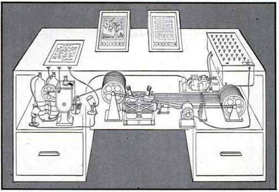 "Life magazine illustration of memex, from Vannevar Bush ""A We May Think"" 1945  http://www.theatlantic.com/technology/archive/2013/07/the-hut-where-the-internet-began/277551/"