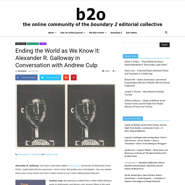 """by Alexander R. Galloway and Andrew Culp ~ Alexander R. Galloway: You have a new book called Dark Deleuze (University of Minnesota Press, 2016). I particularly like the expression """"canon of joy"""" that guides your investigation. Can you explain what canon of joy means and why it makes sense to use it when talking about Deleuze?"""