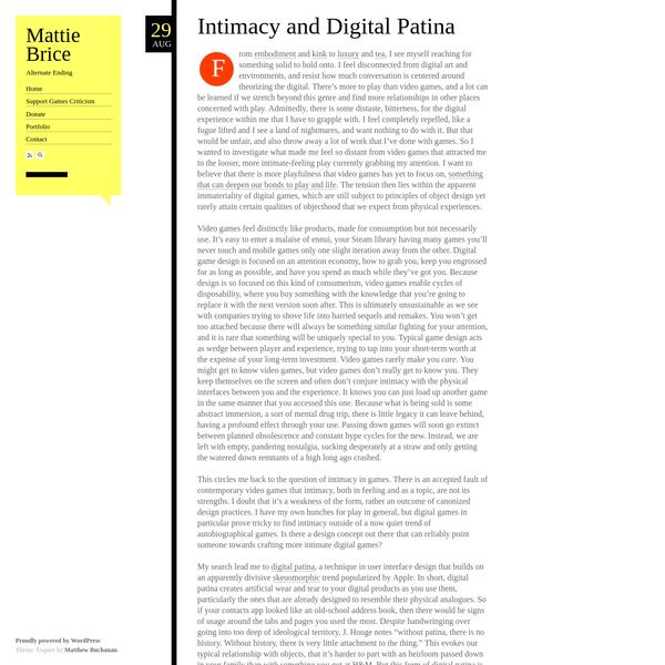 Intimacy and Digital Patina
