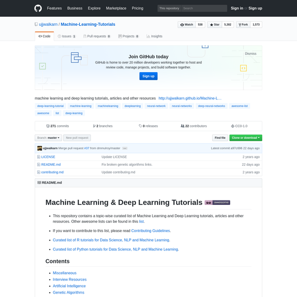 Machine-Learning-Tutorials - machine learning and deep learning tutorials, articles and other resources