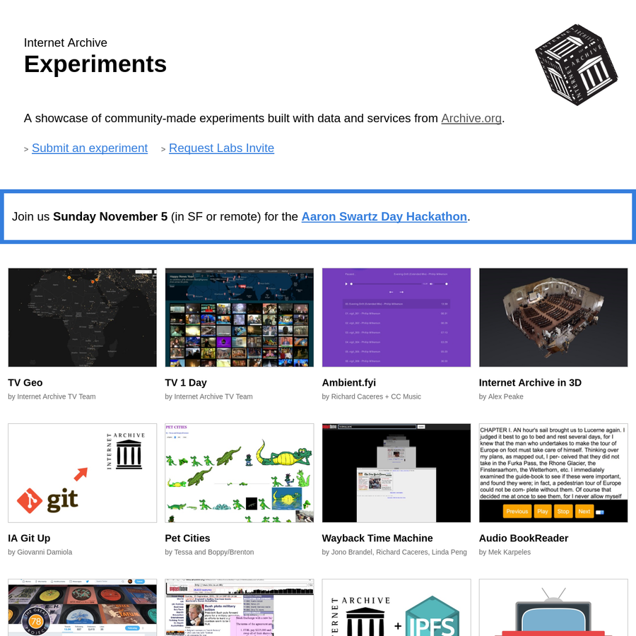 A showcase of community-made experiments built with data and services from Archive.org