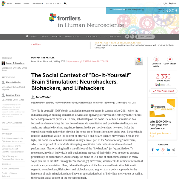"""The Social Context of """"Do-It-Yourself"""" Brain Stimulation: Neurohackers, Biohackers, and Lifehackers"""