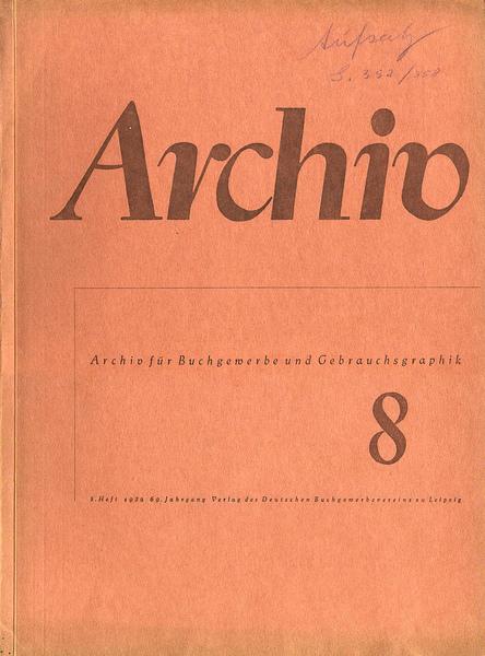 Cover Archiv für Buchgewerbe und Gebrauchsgraphik, 69. Jahrgang, Heft 8, August 1932