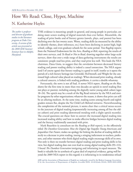 Katherine Hayles – How We Read