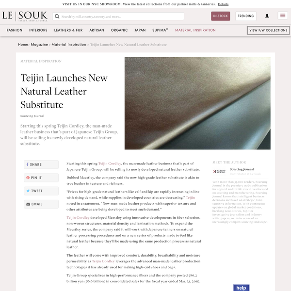 Teijin Launches New Natural Leather Substitute
