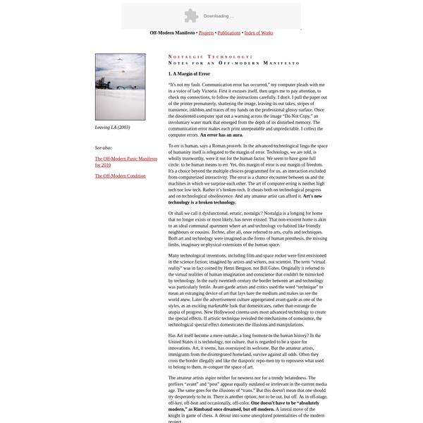 Svetlana Boym | Off-Modern Manifesto