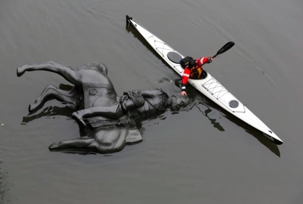 Oct. 29, 2017 An equestrian statue of King Edward VII is nudged into position by Jon McCurley, of art duo Life Of A Craphead, allowing it to float down the Don River in Toronto. Chris Helgren/Reuters  https://www.washingtonpost.com/world/here-are-17-of-the-weeks-best-photos/2017/11/03/2c120fa2-bb70-11e7-9e58-e6288544af98_gallery.html?utm_term=.48c3685a7e8f