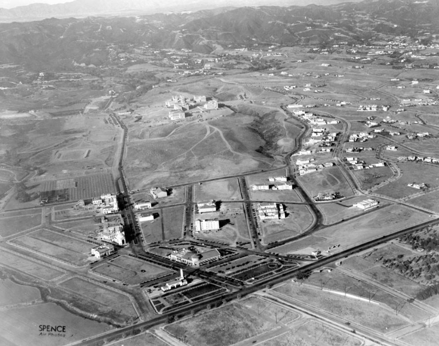 Unknown Photographer, Westwood Business Village, November 22, 1929. UCLA campus in the middle distance.