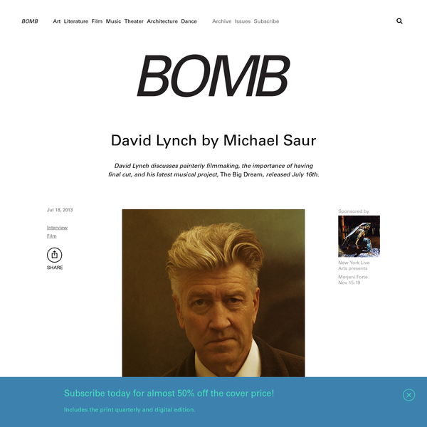 David Lynch by Michael Saur - BOMB Magazine