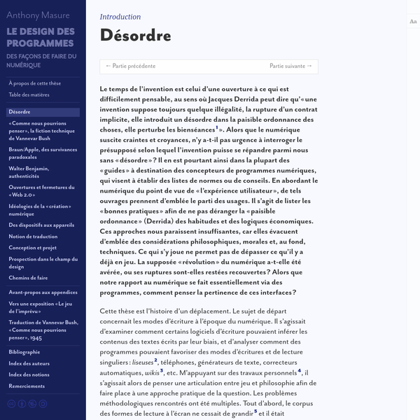 Introduction : Désordre   Thèse Anthony Masure