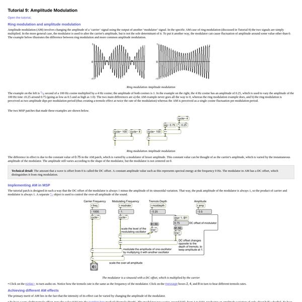 MSP Tutorial 9: Amplitude Modulation