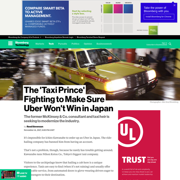 It's impossible for Ichiro Kawanabe to order up an Uber in Japan. The ride-hailing company has banned him from having an account. That's not a problem, though, because he rarely has trouble getting around; Kawanabe runs Nihon Kotsu Co., Tokyo's biggest taxi company. Visitors to the archipelago know that hailing a cab here is a unique experience.