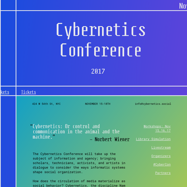 Cybernetics Conference 11.18.17 in New York.