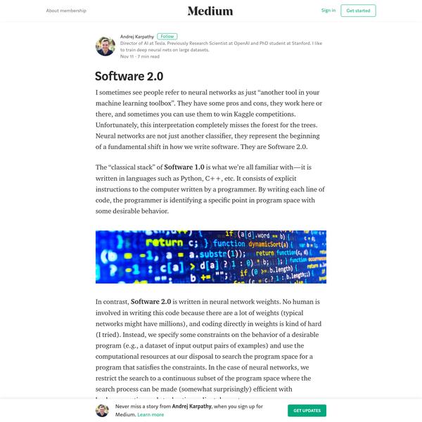 Software 2.0 - Andrej Karpathy - Medium