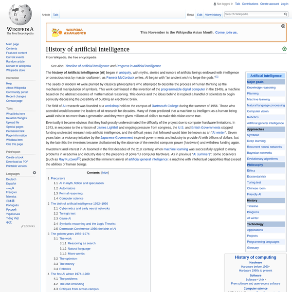 History of artificial intelligence - Wikipedia