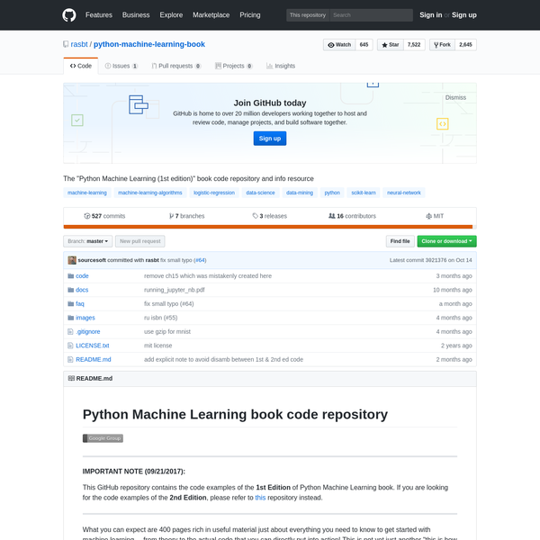 "python-machine-learning-book - The ""Python Machine Learning (1st edition)"" book code repository and info resource"