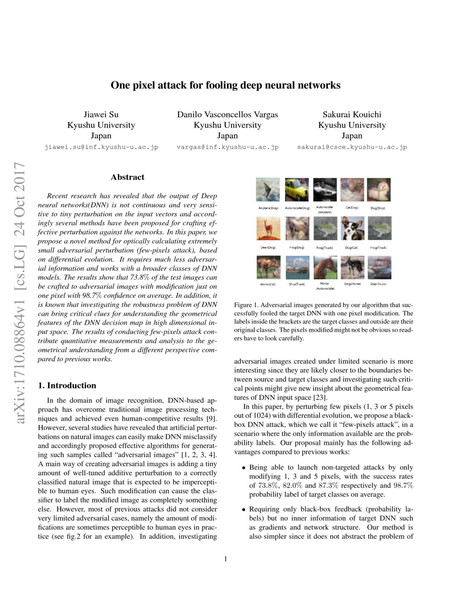 One pixel attack for fooling deep neural networks