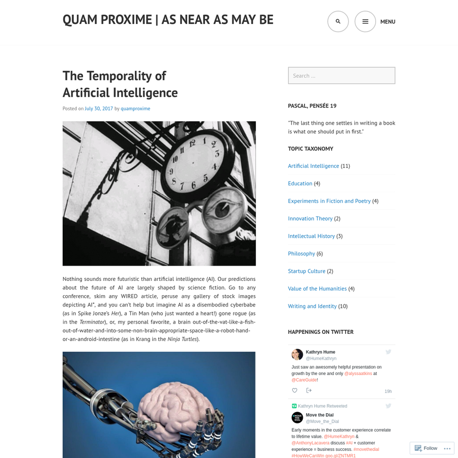 Nothing sounds more futuristic than artificial intelligence (AI). Our predictions about the future of AI are largely shaped by science fiction. Go to any conference, skim any WIRED article, peruse any gallery of stock images depicting AI*, and you can't help but imagine AI as a disembodied cyberbabe (as in Spike Jonze's Her), a Tin Man (who...