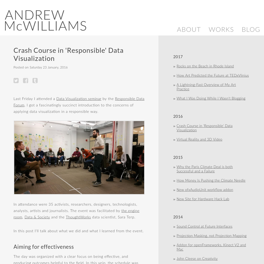 Last Friday I attended a Data Visualization seminar by the Responsible Data Forum. I got a fascinatingly succinct introduction to the concerns of applying data visualization in a responsible way.