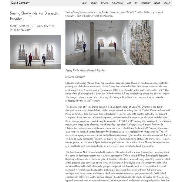 Seeing Slowly. Markus Brunetti's Facades. - David Campany