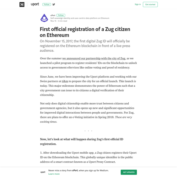 1. After downloading the Uport mobile app, a Zug citizen registers their Uport ID on the Ethereum blockchain. This globally unique identifier is the public address of a smart contract known as a Uport Proxy Contract. 2. Using their newly registered Uport ID, the citizen signs-in to the Zug ID web portal by scanning a QR code.