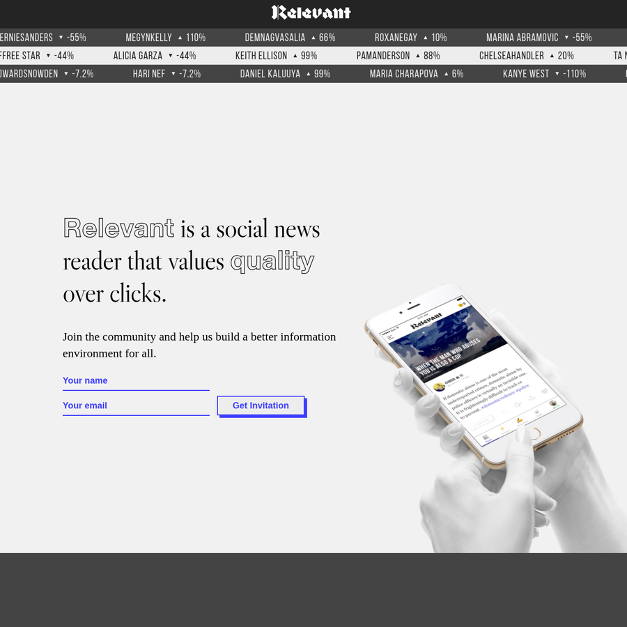Relevant is a social news reader that values quality over clicks. Our mission is to create a token-backed qualitative metric for the information economy - making the human values of veracity, expertise and agency economically valuable.
