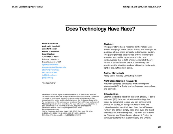 Does Technology Have Race?