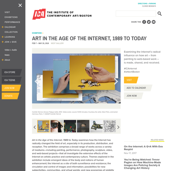Art in the Age of the Internet, 1989 to Today examines how the Internet has radically changed the field of art, especially in its production, distribution, and reception. The exhibition comprises a broad range of works across a variety of mediums-including painting, performance, photography, sculpture, video, and web-based projects-that all investigate the extensive effects of the Internet on artistic practice and contemporary culture.
