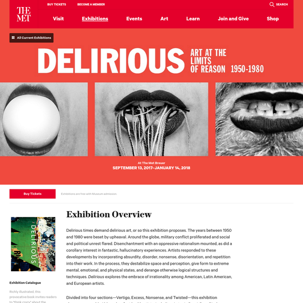"""""""Delirious"""" explores the context in which the fascination with irrationality emerged in art between 1950 and 1980, as well as the events that fueled the embrace of irrationality among American, Latin American, and European artists."""