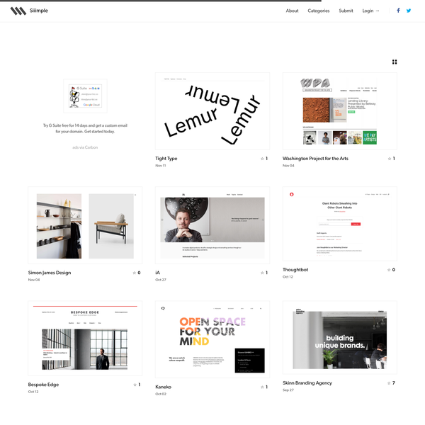 Siiimple is a minimalist css gallery. Hand-picked, obsessively curated collection of the most beautiful websites on the internets.