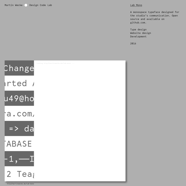 A monospace typeface designed for the studio's communication. Open source and available on github.com. Type design Website design Development
