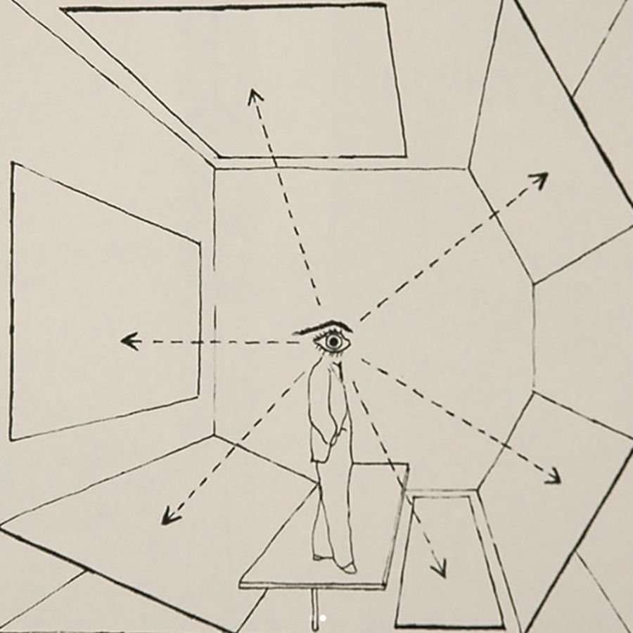 """Herbert Bayer's 1937 diagram showing the """"inclusive picture of all possible viewpoints."""""""