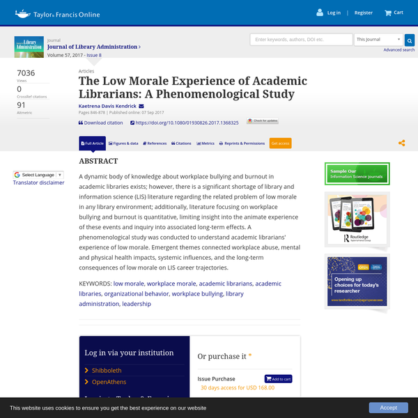 A dynamic body of knowledge about workplace bullying and burnout in academic libraries exists; however, there is a significant shortage of library and information science (LIS) literature regarding the related problem of low morale in any library environment; additionally, literature focusing on workplace bullying and burnout is quantitative, limiting insight into the animate experience of these events and inquiry into associated long-term effects.