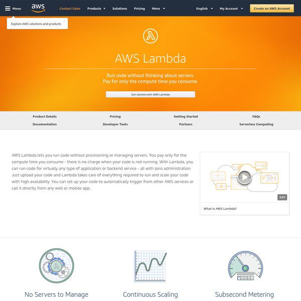 AWS Lambda lets you run code without provisioning or managing servers. You pay only for the compute time you consume - there is no charge when your code is not running.