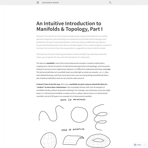 Foreword: This is the first of a series of posts introducing the concept of manifolds from an intuitive, geometric perspective, and culminating in an introduction to the broader field of topology, and a justification of a) why it's interesting/important, and b) why things are defined the way they are.