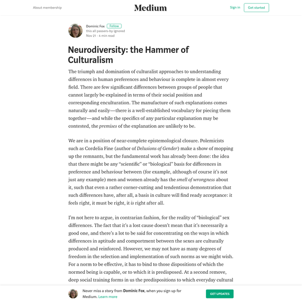 Neurodiversity: the Hammer of Culturalism - Dominic Fox - Medium