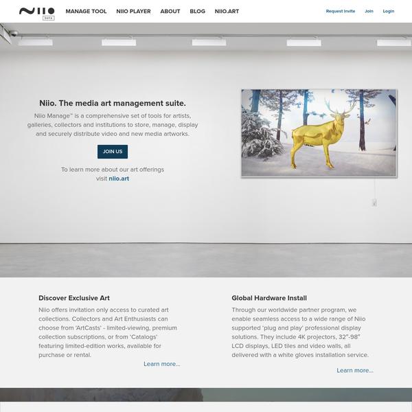 Niio Art - Manage, Distribute and Display Video Art & Digital Artforms.