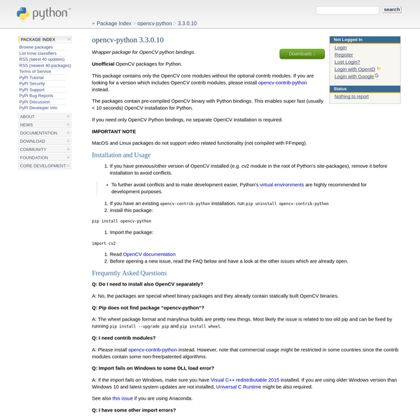 opencv-python 3.3.0.10 : Python Package Index
