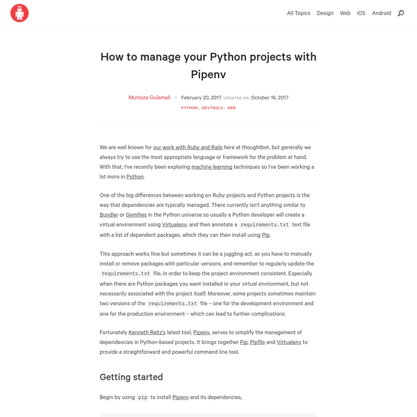 How to manage your Python projects with Pipenv