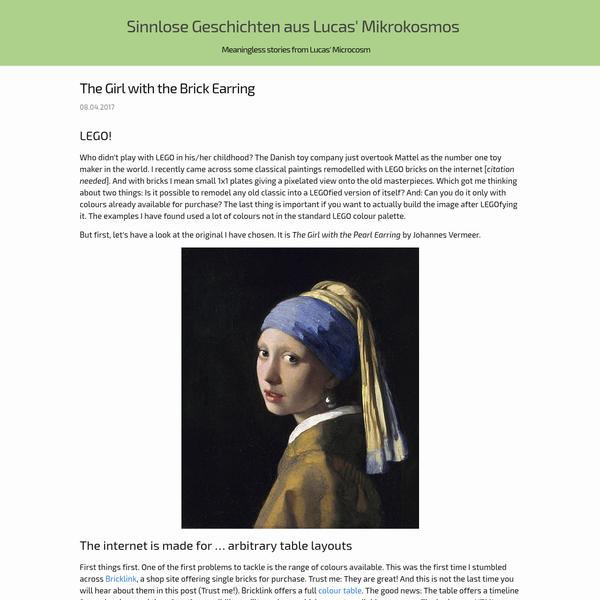 Sinnlose Geschichten aus Lucas' Mikrokosmos - The Girl with the Brick Earring