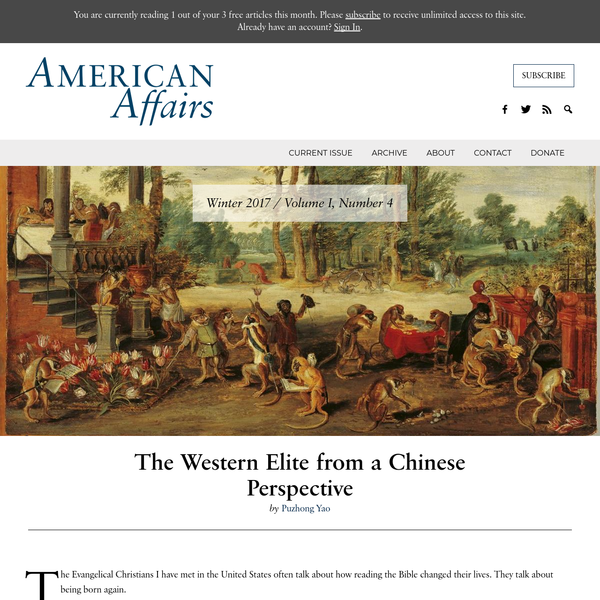 The Western Elite from a Chinese Perspective - American Affairs Journal