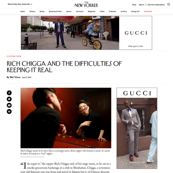 """""""I do regret it,"""" the rapper Rich Chigga said, of his stage name, as he sat in a smoky greenroom backstage at a club in Manhattan. Chigga, a seventeen-year-old Internet star, was born and raised in Jakarta but is of Chinese descent, hence the portmanteau."""