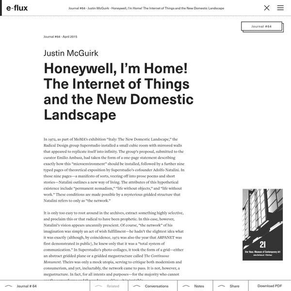 Honeywell, I'm Home! The Internet of Things and the New Domestic Landscape